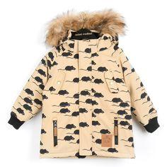MINI RODINI Beige parka with mouse print and fur hood