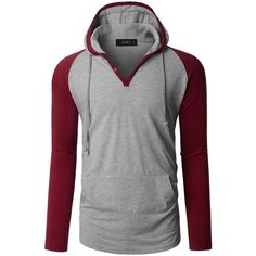 LE3NO Mens Long Sleeve Color Block Raglan Henley Shirt with Hood (170 HRK) ❤ liked on Polyvore featuring men's fashion, men's clothing, men's shirts, men's casual shirts, mens hooded long sleeve shirt, mens henley long sleeve shirts, mens ribbed t shirts and mens longsleeve shirts
