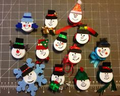 Little snowman tea lights. Can be used as a table decoration, Christmas ornament , and you can also pin it to your jacket!!! ~ Seam Reaper Creations found on FB and etsy.