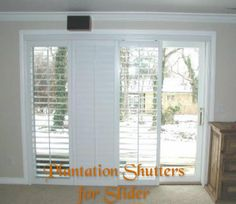 Plantation Shutters On Sliding Glass Door   For Family Room, To Cover  Triple Slider And Double Slider, BUT In Wood   Medium/cinnamon Color