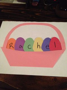 Pre-K name Easter activity. Name eggs in an Easter basket. I need to find an egg-shaped punch! April Easter, Easter Art, Easter Eggs, Daycare Crafts, Classroom Crafts, Daycare Ideas, Classroom Ideas, Easter Projects, Easter Crafts For Kids