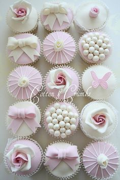 cupcakes # pink # white # elegant cupcakes # cotton and crumbs Fancy Cupcakes, Pretty Cupcakes, Beautiful Cupcakes, Yummy Cupcakes, Wedding Cupcakes, Cupcake Cookies, Decorated Cupcakes, Cupcake Fondant, Cupcake Wedding