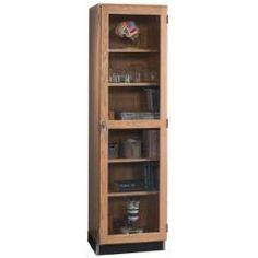 "Diversified Woodcrafts 315-2422 UV Finish Solid Oak Wood Glass Wall Storage Case, 24"" Width x 84"" Height x 22"" Depth>"
