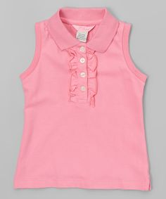 Pink Ruffle Sleeveless Polo - Toddler & Girls