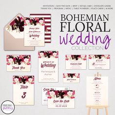 Bohemian Floral Wedding Collection by Fresh and Yummy Paperie - What a beautiful printable DIY wedding stationery set! These editable pdf instant download wedding templates are so easy to download, edit and print. The collection includes a wedding invite, save the date postcard, rsvp, detail card, envelope liners, thank you card, program, menu, table number, place cards and more! This suite is perfect for the following themes; boho, watercolor flowers, bouquet of posies, feminine garden…