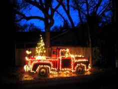 red truck with holiday lights