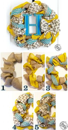 Chevron Burlap Wreath | Being Genevieve. Free Tutorial. Perfect wreath for Spring and Summer!