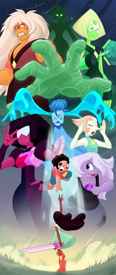 Steven Universe - Steven, Connie, Lapis Lazuli, Garnet, Pearl, Amethyst, Peridot, Jasper, Yellow Diamond