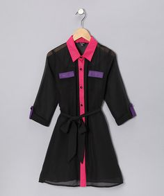 Take a look at this Black, Pink & Purple Shirt Dress - Girls by Zunie & Pinky and Cuties Fashions on #zulily today!