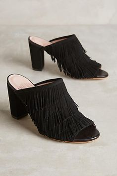 abf3e00649d9 fun mules + fringe + black suede + spring + summer + foot fashion + shoes