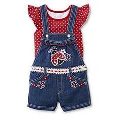 Young Hearts Infant & Toddler Girl's Top & Shortalls - Polka Dot & Ladybug