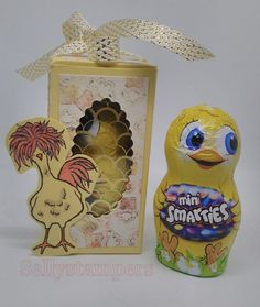 An early Easter project today and a DSP that I haven't used yet. How cute are these boxes? They contain a little chocolate chicken containing mini smarties. The box is So Saffron layered with…