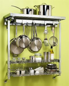 Deluxe+Wall+Pot+Rack+w+Basket+Extension
