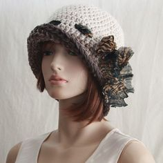 Crochet Flapper Hat with Bow Womens Cloche 1920s style with