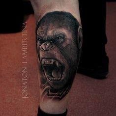 http://tattooideas247.com/caesar-tattoo/ Caesar Planet of the Apes Tattoo #AnimalLegTattoos, #Ape, #Caesar, #MovieInk, #PlanetOfTheApes