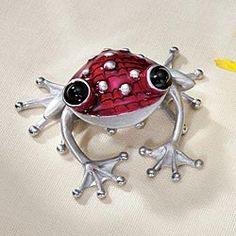 Red Pewter Smiling Frog Sculpture by Stepper Bros.