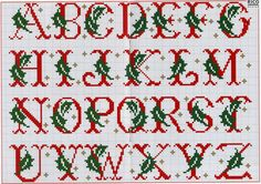Fab for personalised stocking Christmas Cross Stitch Alphabet, Monogram Cross Stitch, Cross Stitch Alphabet Patterns, Cross Stitch Christmas Stockings, Xmas Cross Stitch, Embroidery Alphabet, Cross Stitch Samplers, Cross Stitch Charts, Cross Stitch Designs
