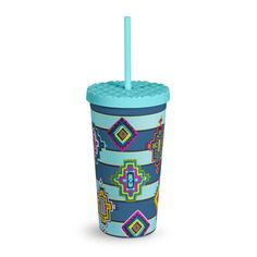 Vera Bradley Tumbler with Straw - Painted Medallions
