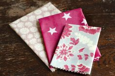Set of THREE Beeswax Wraps in shades of pink to keep your food fresh and your kitchen plastic free.