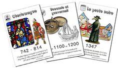 25 affiches repères pour le Moyen-Âge. Vous pourrez illustrer votre frise ou vos séances...