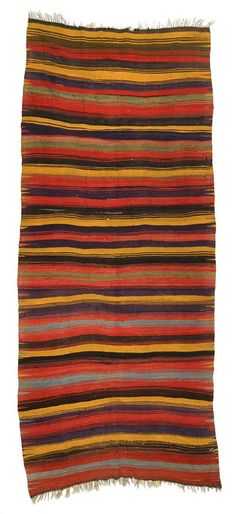 Konya Kilim Rug with stripes. This piece is around 40 years old.