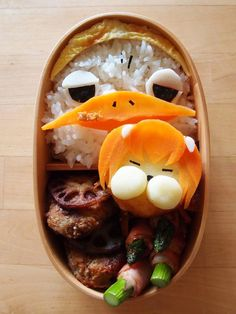 A kyaraben, or character bento, inspired by characters from the anime Yondemasuyo, Azazel-san.  Some one make me animated meals and I will love you (at least platonically) for life. - a