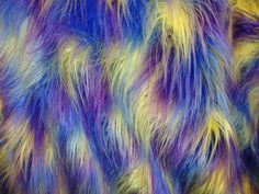 "3 Tone Shaggy long hair Purple Blue yellow Faux Fur Long PIle custom rug fabric per yard 60"" wide by fabulessfabrics on Etsy https://www.etsy.com/listing/212741764/3-tone-shaggy-long-hair-purple-blue"