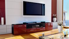 TV Unit Stand Cabinet Sideboard Almada V2 Black - High Gloss & Natural Tones | eBay