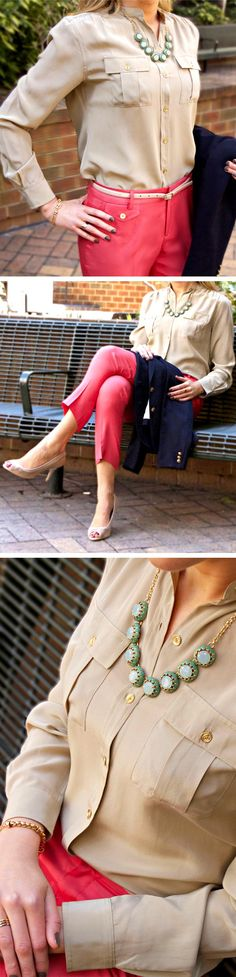 The Classy Cubicle: Favorite Color Combination for Spring: Pink, Tan and Turquoise.  Silk capris, silk blouse and navy blazer : ) The fashion blog for chic young professional women who need office style inspiration and work wear ideas for the corporate world.