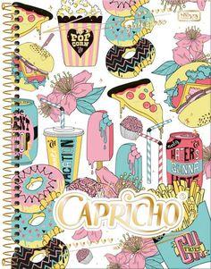 Caderno Espiral Capa Dura Universitário 12 Matérias Capricho 240fls