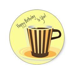 Coffee-Themed Birthday Envelope Seals Sticker