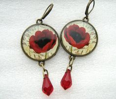 poppys with swarovski teardrops by ZukaSunny on Etsy