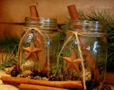Rustic Mason Jar set Barn Stars primitive by PineknobsAndCrickets