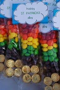 Rainbow treat bags with gold at the bottom. This is a GREAT idea!
