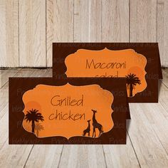 Safari food tent, Printable African safari place card #FoodTent #SafariParty #SafariBirthday
