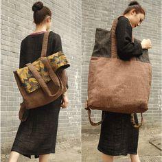 2016 женщин большие старинные холст рюкзаки дамы печатных лоскутное случайные большие дорожные сумки оригинальный дизайн женские сумки