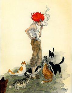 Art, Illustration and comics by Canadian illustrator Renee Nault. Crazy Cat Lady, Crazy Cats, Redhead Art, Art Et Illustration, Illustrations, Animation, Wildlife Art, I Love Cats, Cat Art