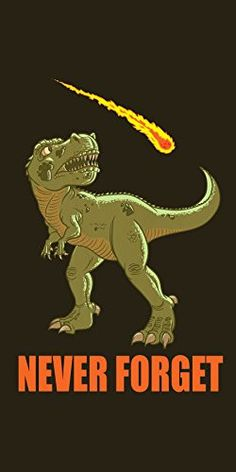 'Dinosaur Never Forget' Asteroid & Tyrannosaurus Rex Humor - Plywood Wood Print Poster Wall Art