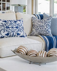 Pillows. Living room pillows Blue and white living room pillows on linen sofa. Kim E Courtney Interiors & Design Inc.