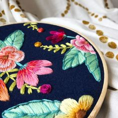 I wanted to have this happy hoop finished by tomorrow, but this beautiful weekend keeps filling up with sweet people to enjoy. I'll leave you with a peek of my latest progress, and hopefully have this finished up in a couple days. .  .  .  .  #embroidery #handembroidery #bordado #broderie #ricamo #nakis #modernembroidery #florals #floral #jungalow #jungalowstyle #fiberart #wallart #flowerpower #design #color #colorlove #marablelake #craftspire #craftposure #makersvillage #makersgonnamake