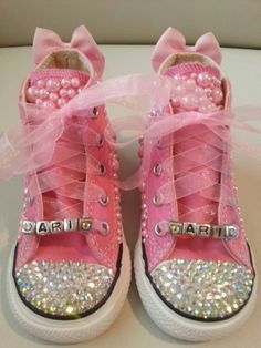 Sparkle & Pearl Chucks by SheSparklesIt on Etsy