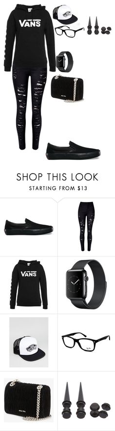 """""""Punk Non-binary Aesthetic #2"""" by principehayden on Polyvore featuring Vans, WithChic, Ray-Ban, Miu Miu and Hot Topic"""