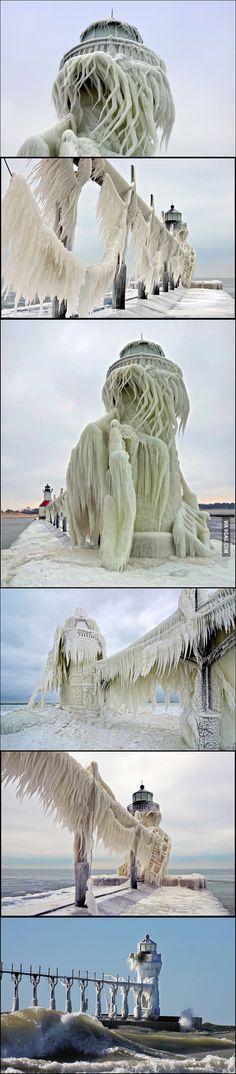 St. Joseph North Pier is stunningly alien when it's frozen...