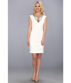 Ellen Tracy Beaded Split Neckline Shift Dress
