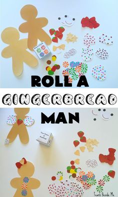 Roll a Gingerbread Man Game for Kids- great for preschool and elementary ages. via /karyntripp/