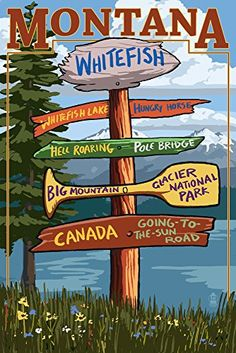 Whitefish, Montana - Sign Destinations (9x12 Collectible Art Print, Wall Decor Travel Poster)