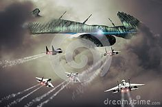 Big strange alien spaceship is approached by several F15 fighters.