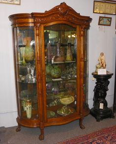 antique curio cabinet curved glass | click on pictures to enlarge then  click on back button