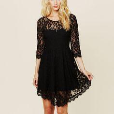 Lace Long Sleeve Pure Color O-neck Irregular Short Dress