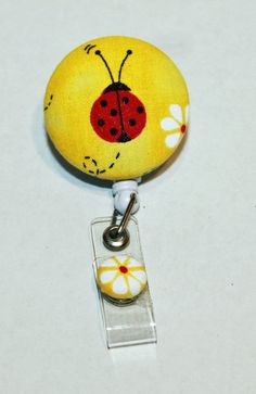 Fabric Retractable ID Badge holder stripes by UniScrubCaps on Etsy, $4.99